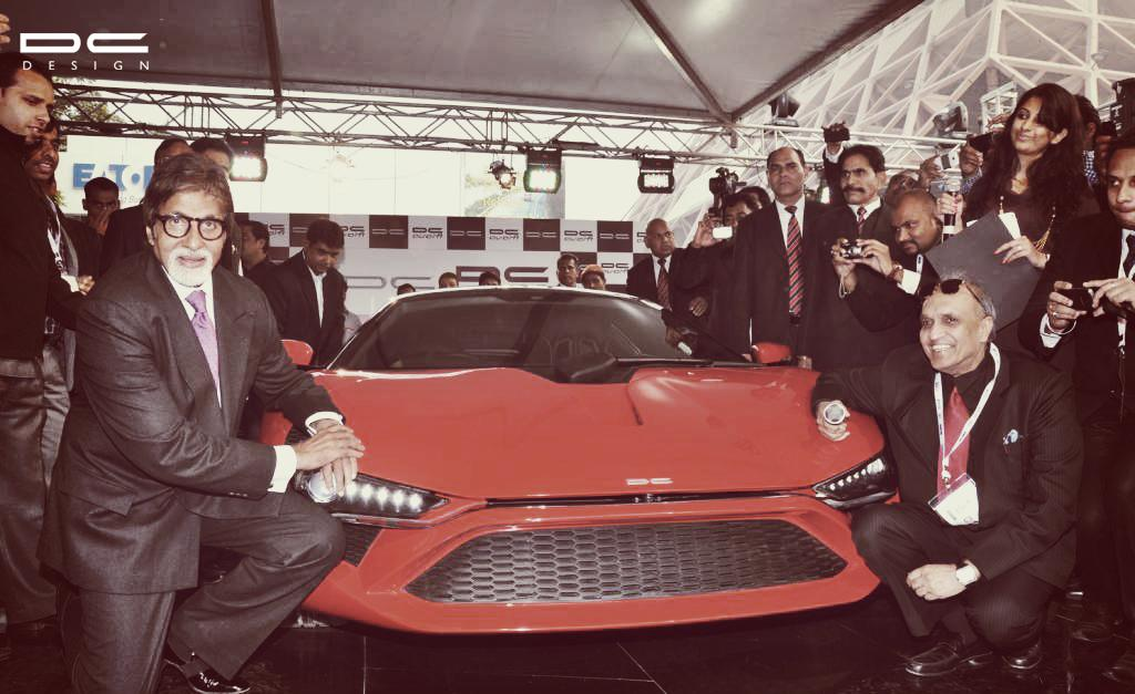 Dilip Chhabria and Amitabh Bachchan with DC Avanti, the first Indian designed sports car by DC Design.