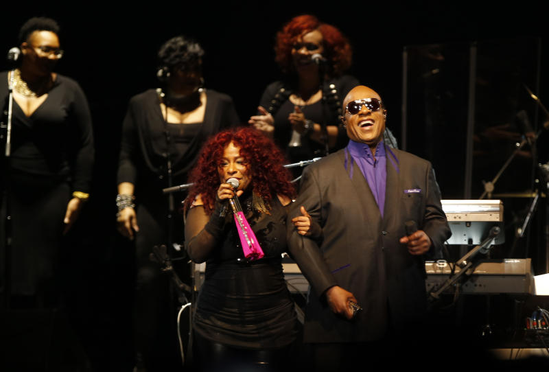 Stevie Wonder and Chaka Khan perform at Prince tribute