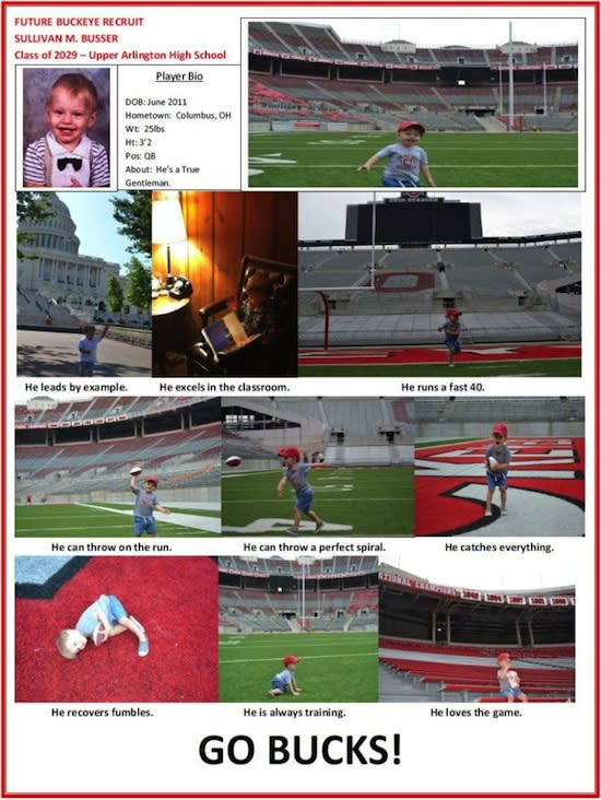 2-year-old Sullivan Busser's parents sent in a recruiting flyer to Ohio State — Fox 8 screenshot