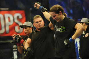 Alexis Davis reacts to her win vs. Liz Carmouche (not pictured) in a women's bantamweight bout. (USA TODAY Sports)