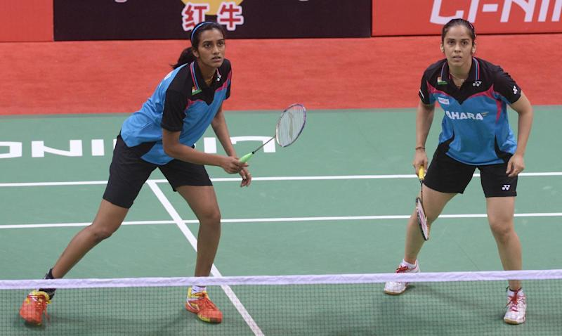 PV Sindhu (L) of India, pictured at Siri Fort Stadium in New Delhi on May 20, 2014