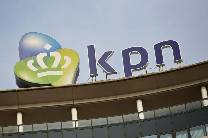 The logo of Dutch telecom company Royal KPN is seen in their headquarters in The Hague
