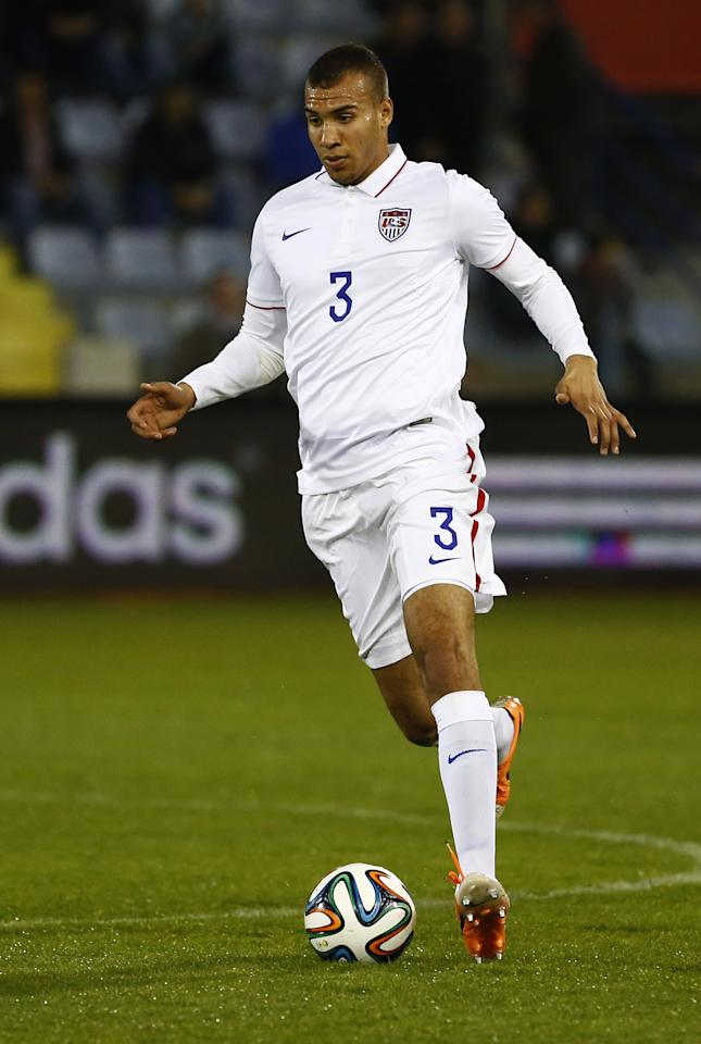 LARNACA, CYPRUS - MARCH 05: John Brooks of the USA, in action during the Ukraine v USA International Friendly at Antonis Papadopoulos stadium on March 5, 2014 in Larnaca, Cyprus. (Photo by Andrew Caballero-Reynolds/Getty Images)