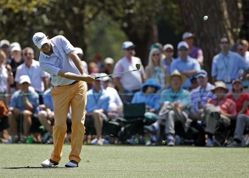Bill Haas hits off the 15th fairway during the first round of the Masters golf tournament Thursday, April 10, 2014, in Augusta, Ga