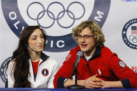 Ice dancing pair Davis and White are introduced as part of the U.S.' team for the upcoming Sochi Winter Olympics during a news conference in Boston
