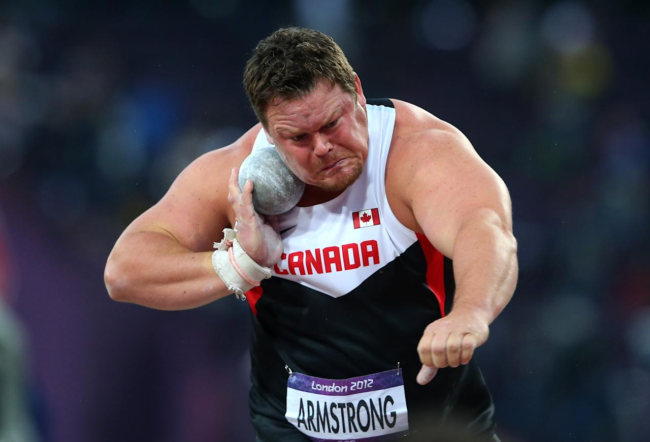 LONDON, ENGLAND - AUGUST 03: Dylan Armstrong of Canada competes in the Men's Shot Put Final on Day 7 of the London 2012 Olympic Games at Olympic Stadium on August 3, 2012 in London, England. (Photo by Alexander Hassenstein/Getty Images)