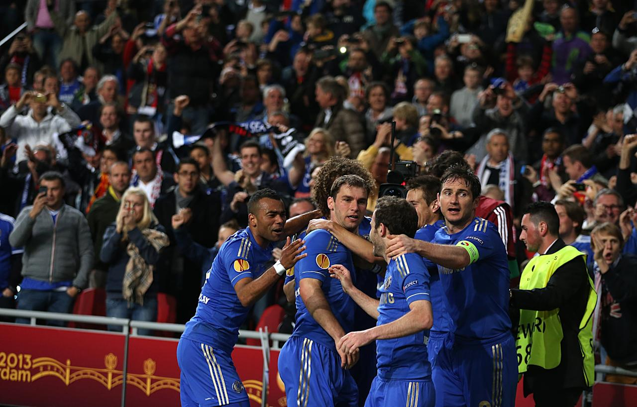 Chelsea's Branislav Ivanovic celebrates scoring the winning goal with his team-mates