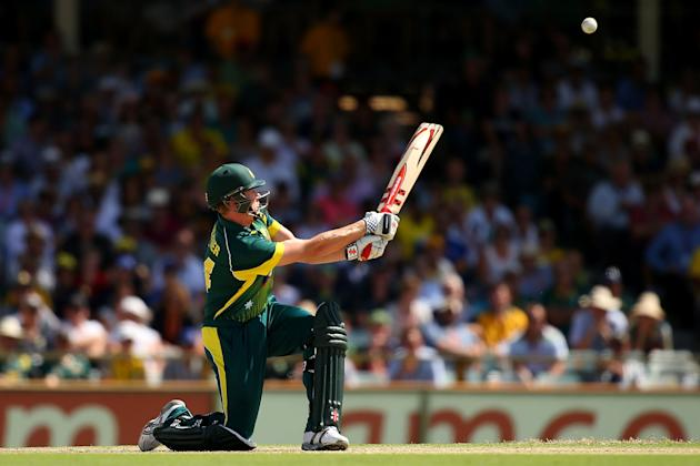 James Faulkner hits one into the banks. (Photo by Paul Kane/Getty Images)