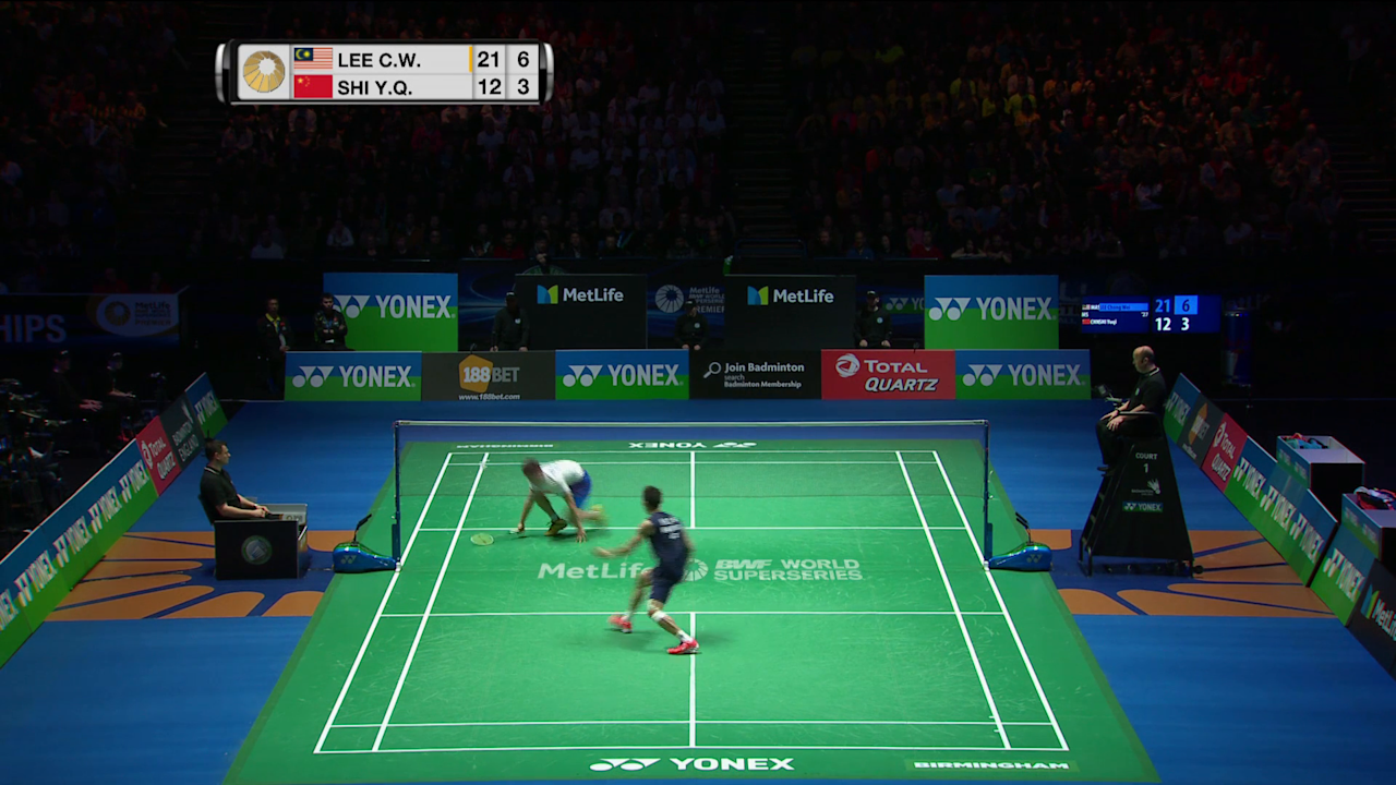 The YONEX All England Open Badminton Championships play of the day was a sensational rally between Lee Chong Wei and Shi Yuqi in the men's singles final at Birmingham's Barclaycard Arena.