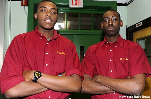St. Anthony basketball players Jimmy Hall and Rashad Andrews