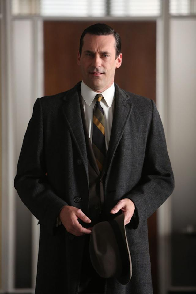 "Don Draper (Jon Hamm) in the ""Mad Men"" Season 6 finale, ""In Care Of."""