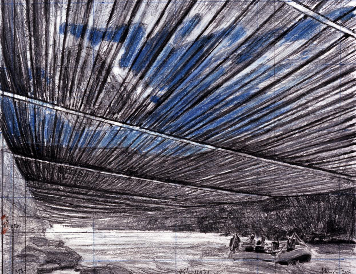 "FILE - This artist's drawing provided by Christo shows an image of a proposed art project by artists Christo and Jeanne-Claude that would suspend 5.9 miles of silvery, translucent fabric above parts of the Arkansas River in southern Colorado.   Christo's plan to suspend huge fabric panels over parts of the heavily rafted Arkansas River in Colorado is largely intact under a version federal land managers identified Thursday, July 28, 2011,  as the preferred alternative for the project. If the Bureau of Land Management issues a permit for Christo's ""Over the River,"" it could happen in August 2014. A final decision is expected this fall. (AP Photo/Christo)  NO SALES"