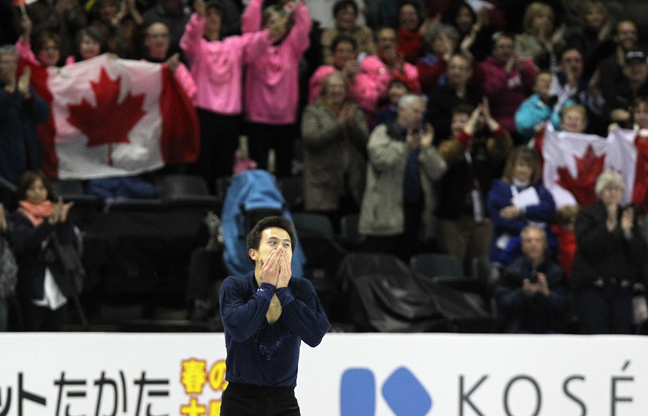 LONDON, CANADA - MARCH 13:  Patrick Chan of Canada reacts to the crowd at the end of his performance in the Men's Short Program during the 2013 ISU World Figure Skating Championships at Budweiser Gardens on March 13, 2013 in London, Ontario, Canada.  (Photo by Dave Sandford/Getty Images)