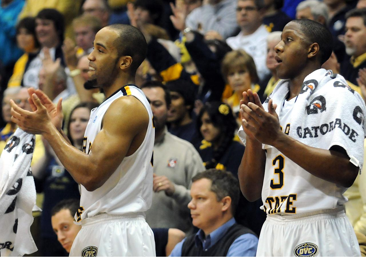 Murray State's Jewuan Long, left, and Isaiah Canaan (3) applaud as time expires in an NCAA college basketball game against St. Mary's on Saturday, Feb. 18, 2012, in Murray, Ky. Murray State won 65-51. (AP Photo/Stephen Lance Dennee)