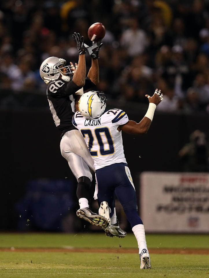 OAKLAND, CA - SEPTEMBER 10: Antoine Cason #20 of the San Diego Chargers breaks up a pass intended for Rod Streater #80 of the Oakland Raiders during their season opener at Oakland-Alameda County Coliseum on September 10, 2012 in Oakland, California.  (Photo by Ezra Shaw/Getty Images)