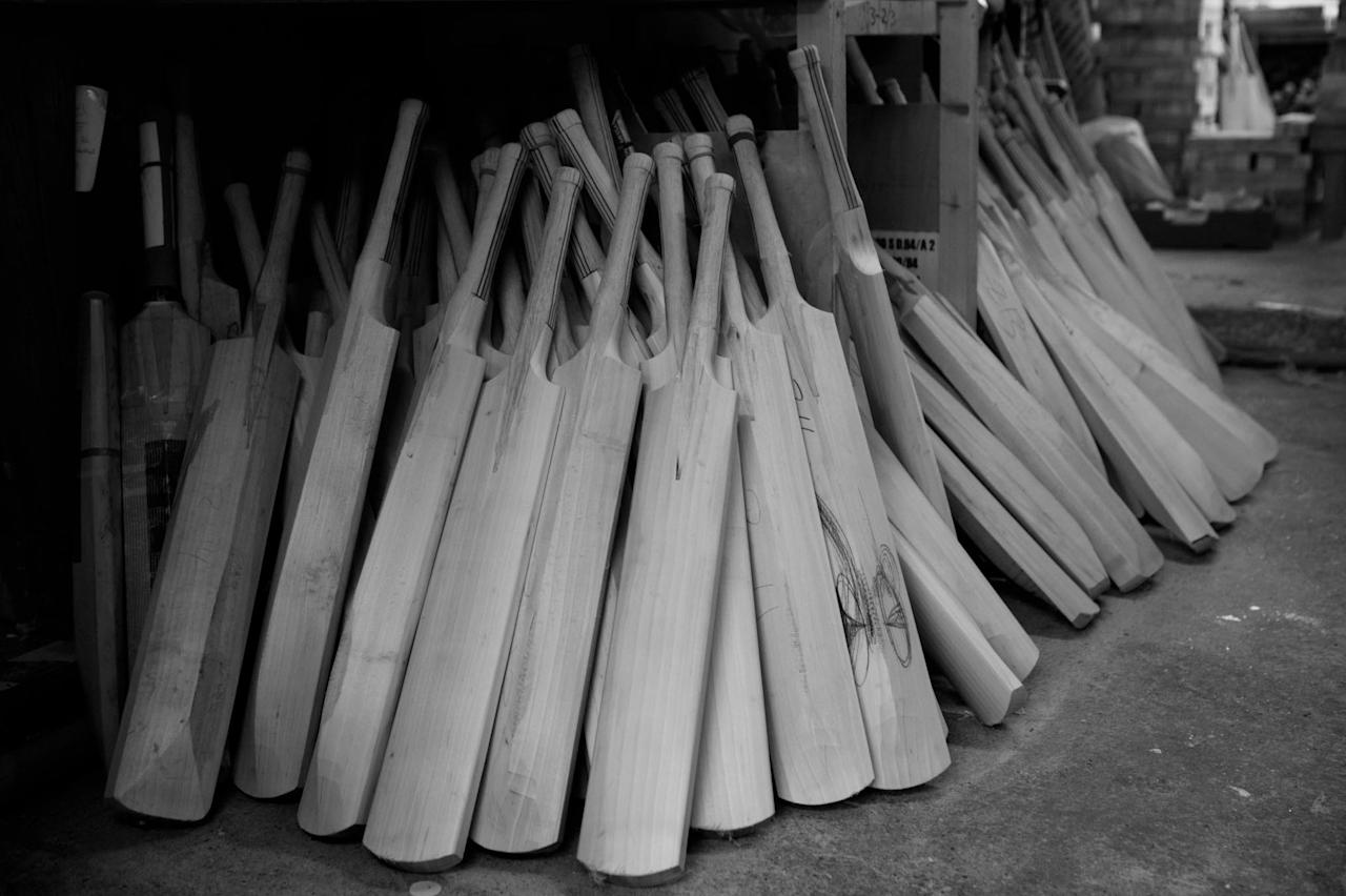 EAST HANNIGFIELD, ENGLAND - JUNE 23: (EDITORS NOTE: Image has been shot in black and white.Color version not available.)  Cricket bats are hand crafted at the Warsop Stebbing factory on June 23, 2008, in East Hanningfield, England.  (Photo by Laurence Griffiths/Getty Images)