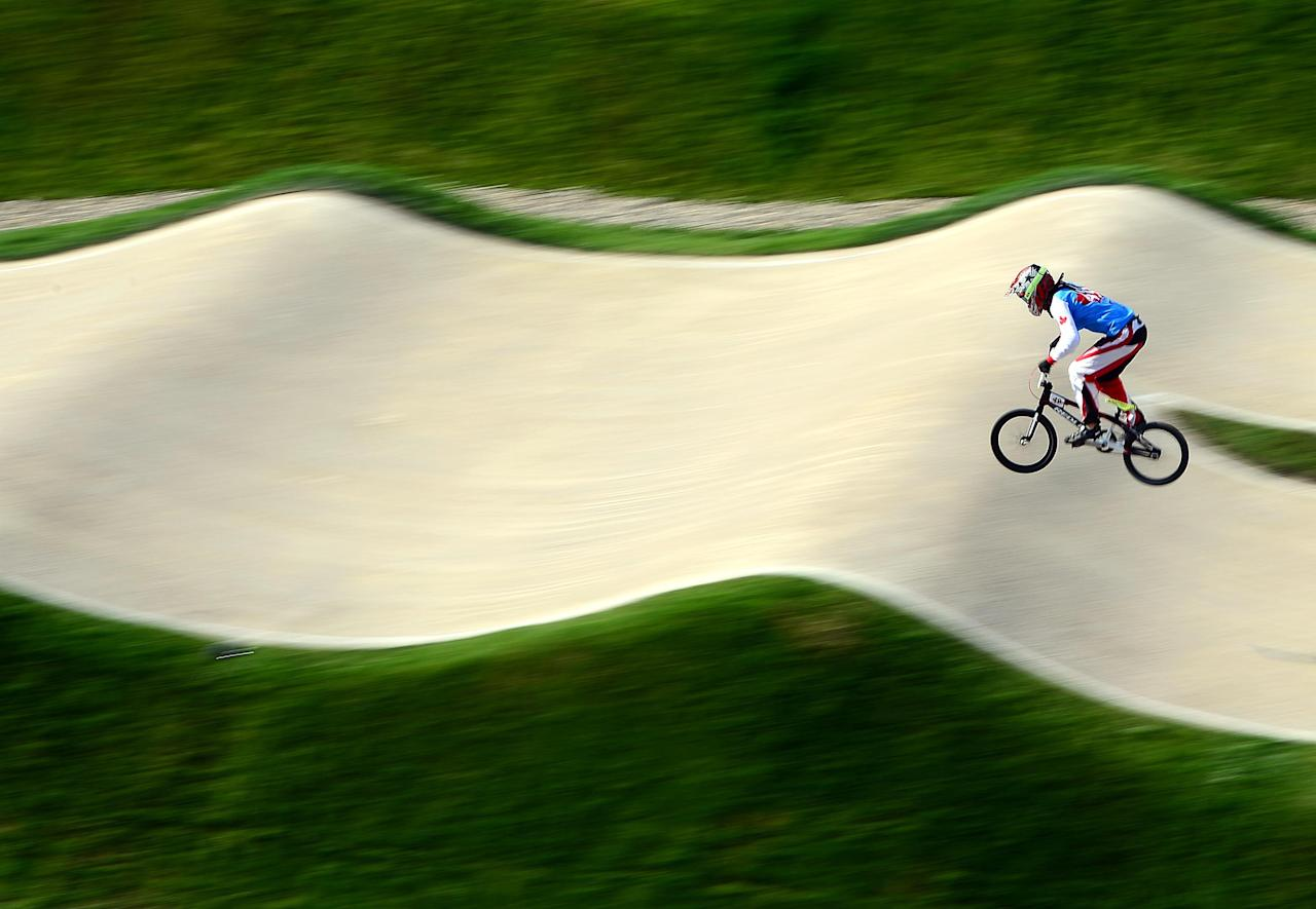 Aug 9, 2012; London, United Kingdom; Tory Nyhaug (49) during the men's BMX quarterfinal run in the London 2012 Olympic Games at BMX Track. Mandatory Credit: Andrew Weber-USA TODAY Sports