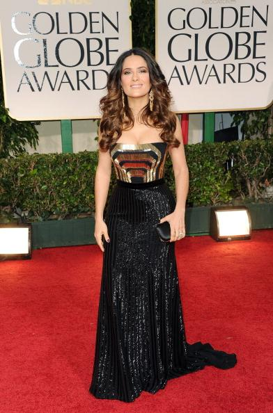 "<div class=""caption-credit""> Photo by: Getty Images</div><div class=""caption-title"">Salma Hayek at the Golden Globes</div>A Time Magazine <i>2012 Golden Globes: Best Dressed</i>, Hayek impressed with the glittering Gucci gown she wore down the red carpet. The star proved that she continues to get better with age with this form fitting dress and playful, curly 'do."