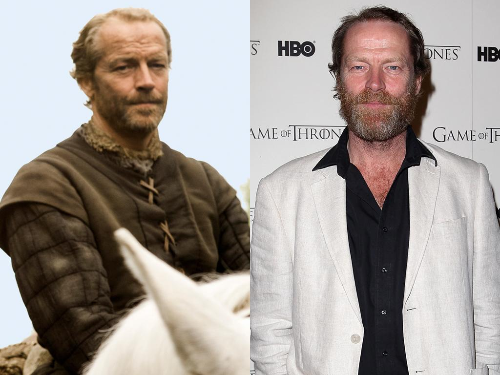 """<b>Iain Glen (Ser Jorah Mormont)</b><br><br>Glen also co-starred in """"Downton Abbey,"""" as the hateful newspaper tycoon Sir Richard Carlisle. And unlike the rest of the """"Thrones"""" cast, Glen actually looks older out of character than as Daenerys' loyal companion, Ser Jorah Mormont. We blame his multi-colored beard."""