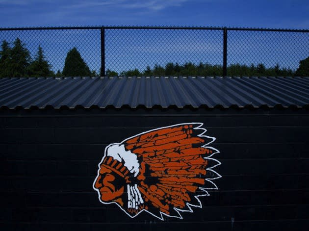 "Oregon's Molalla High features its ""Indians"" mascot on the baseball diamond's dugout -- The Oregonian"