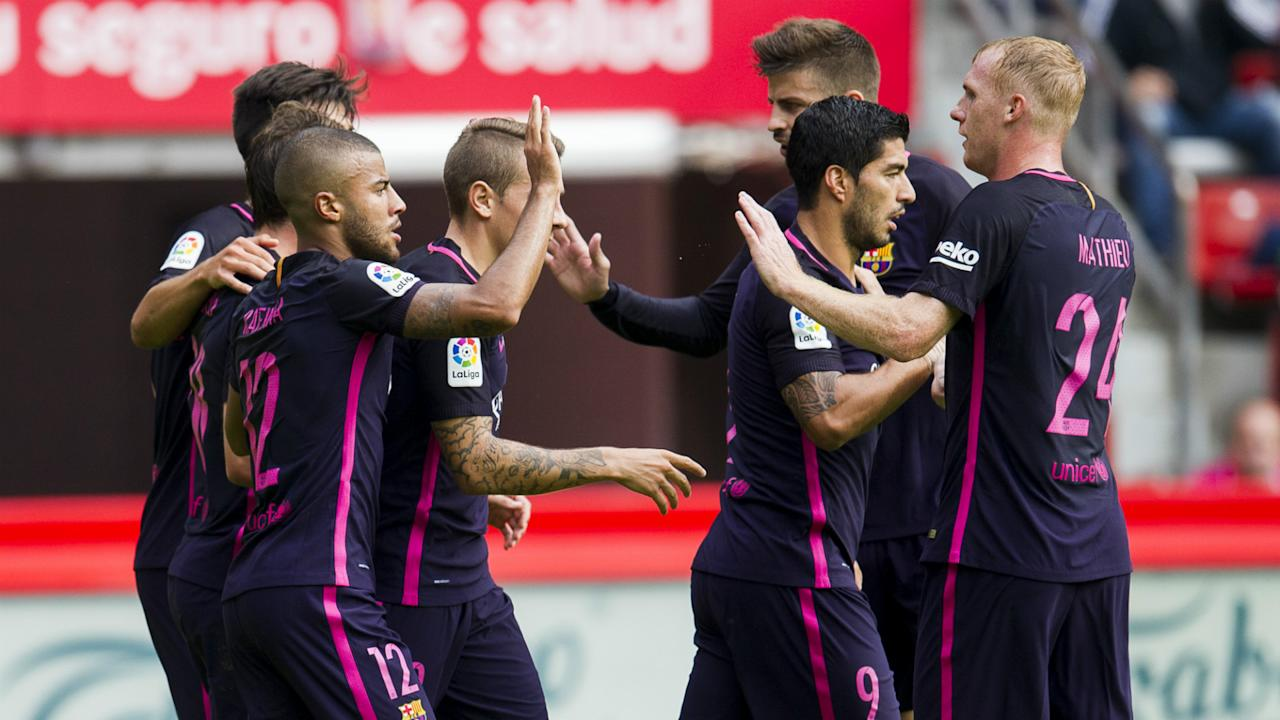Luis Enrique's side strolled to an emphatic 5-0 win at Sporting Gijon to make light of the Argentine's absence through injury. On this evidence, Barca can manage while he is out.