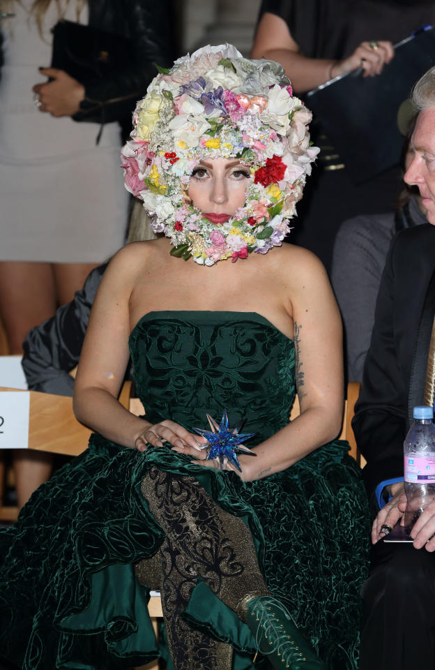 LONDON, ENGLAND - SEPTEMBER 16: Lady Gaga attends the front row for the Philip Treacy show on day 3 of London Fashion Week Spring/Summer 2013, at The Royal Courts Of Justice on September 16, 2012 in London, England. (Photo by Mike Marsland/Wireimage)