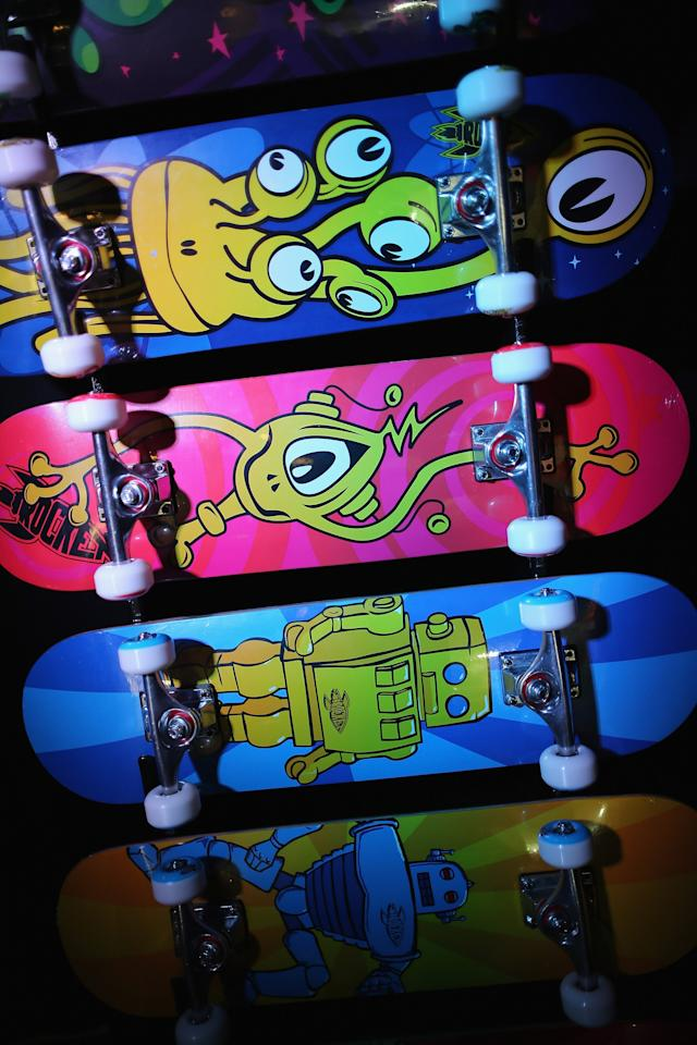 LONDON, ENGLAND - JANUARY 22: Skateboards are displayed on a trade stand during the 2013 London Toy Fair at Olympia Exhibition Centre on January 22, 2013 in London, England. The annual fair which is organised by the British Toy and Hobby Association, brings together toy manufacturers and retailers from around the world.  (Photo by Dan Kitwood/Getty Images)