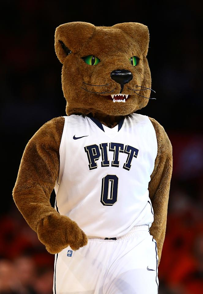 The mascot for the Pittsburgh Panthers performs against the Syracuse Orange during the quaterfinals of the Big East Men's Basketball Tournament at Madison Square Garden on March 14, 2013 in New York City.  (Photo by Elsa/Getty Images)