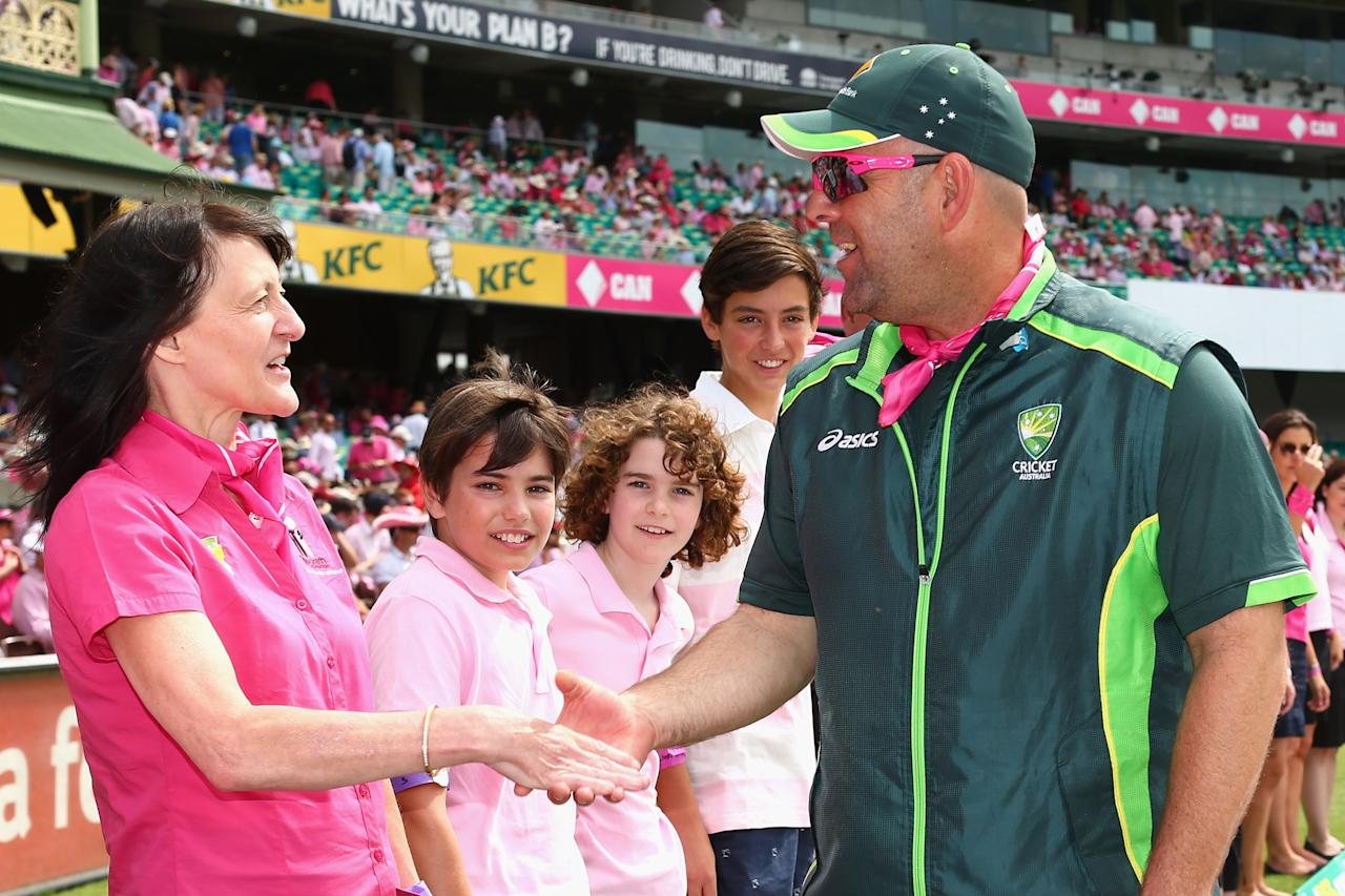 SYDNEY, AUSTRALIA - JANUARY 05: Australian coach Darren Lehmann greets guests of the McGrath Foundation on Jane McGrath Day during day three of the Fifth Ashes Test match between Australia and England at Sydney Cricket Ground on January 5, 2014 in Sydney, Australia.  (Photo by Cameron Spencer/Getty Images)