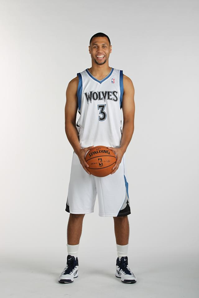 MINNEAPOLIS, MN - OCTOBER 01:  Brandon Roy #3 of the Minnesota Timberwolves poses for a portrait during 2012 NBA Media Day on October 1, 2012 at Target Center in Minneapolis, Minnesota.  NOTE TO USER: User expressly acknowledges and agrees that, by downloading and or using this photograph, User is consenting to the terms and conditions of the Getty Images License Agreement. Mandatory Copyright Notice: Copyright 2012 NBAE (Photo by David Sherman/NBAE via Getty Images)