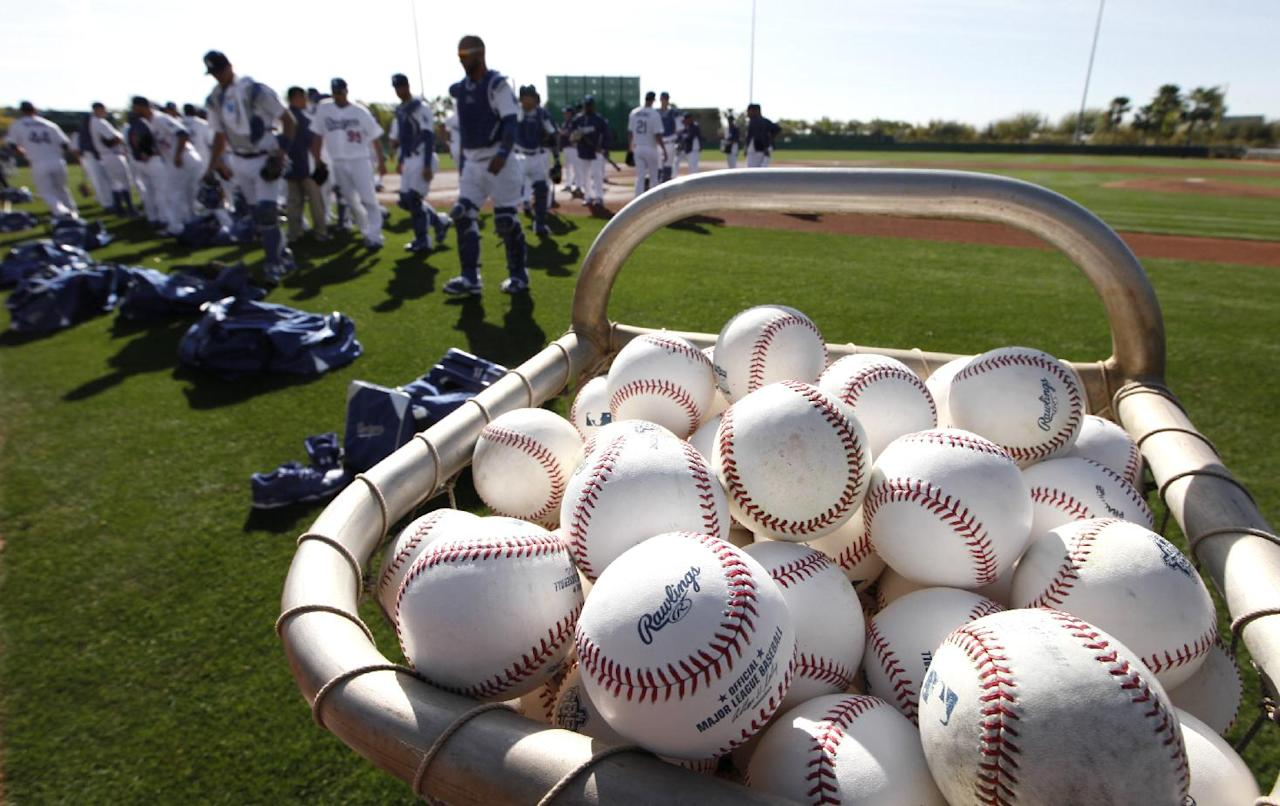 Baseballs rest in a basket as the Los Angeles Dodgers head to drills during spring training baseball practice in Glendale, Ariz., Friday, Feb. 14, 2014. (AP Photo/Paul Sancya)