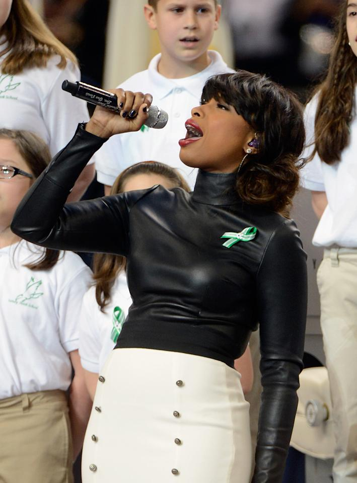 A group of 26 students from the Sandy Hook Elementary School in Newtown, Connecticut perform America the Beautiful with singer Jennifer Hudson during the Pepsi Super Bowl XLVII Pregame Show at Mercedes-Benz Superdome on February 3, 2013 in New Orleans, Louisiana.  (Photo by Kevin Mazur/WireImage)