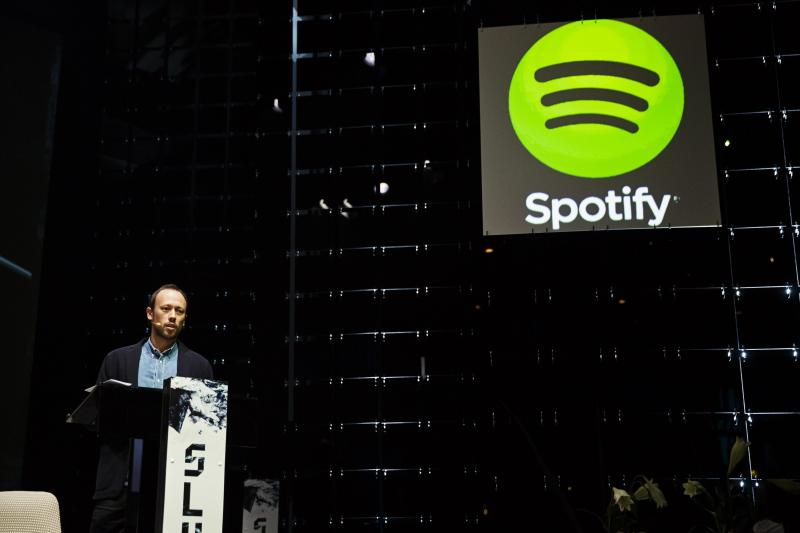 Spotify's VP Growth Norstrom speaks at the Slush startup conference in Helsinki