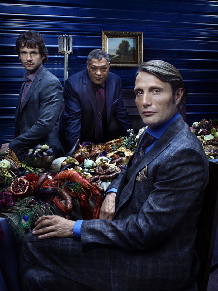 """Hugh Dancy as Special Agent Will Graham, Laurence Fishburne as Agent Jack Crawford, and Mads Mikkelsen as Dr. Hannibal Lecter in """"Hannibal"""" on NBC."""