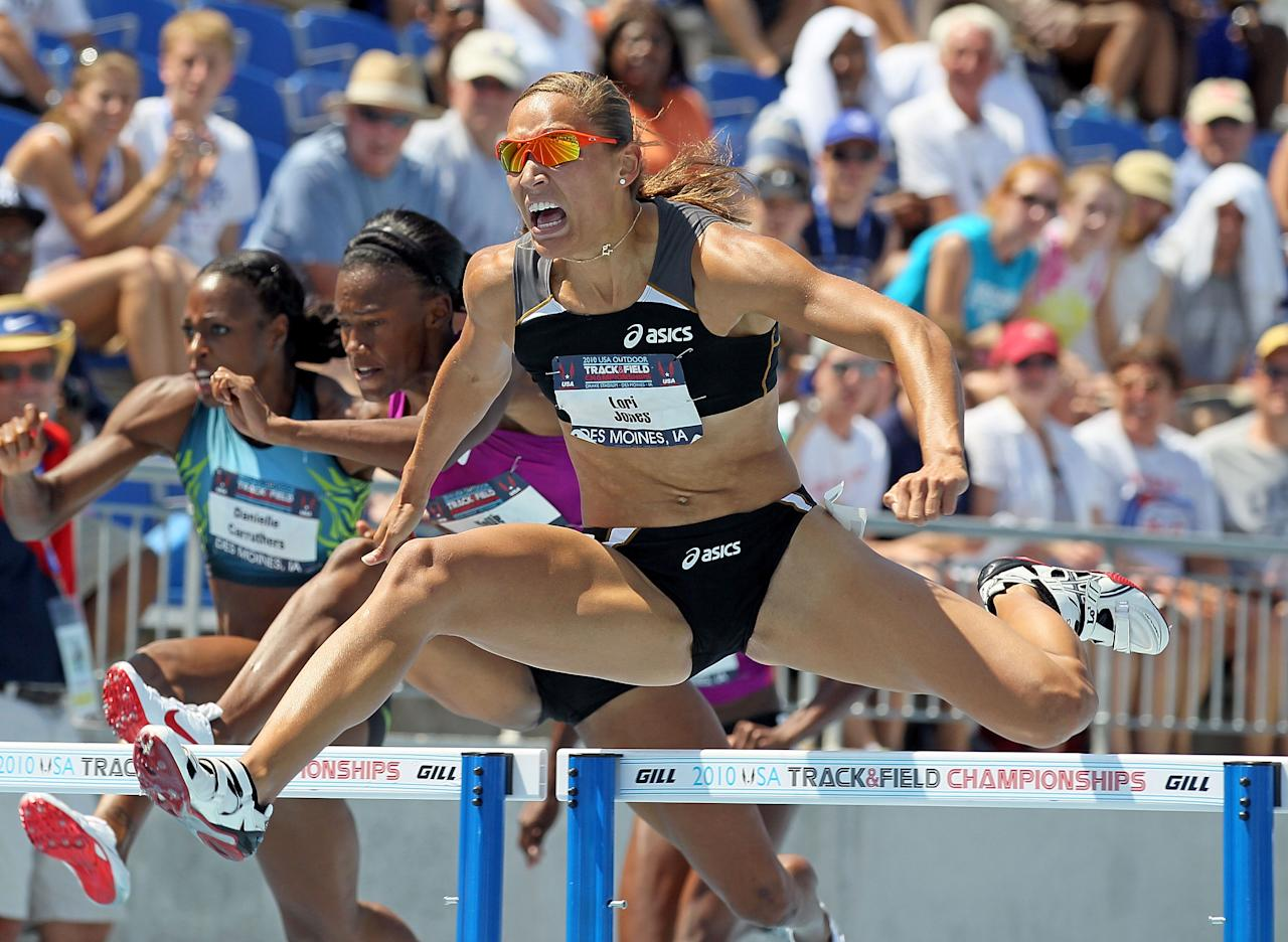 DES MOINES, IA - JUNE 26:  Lolo Jones clears a hurdle on the way to victory in the Womens 100 Meter Hurdles during the 2010 USA Outdoor Track & Field Championships at Drake Stadium on June 26, 2010 in Des Moines, Iowa.  (Photo by Andy Lyons/Getty Images)