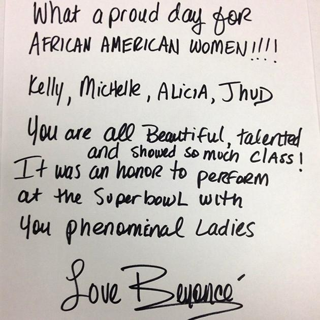 Queen B congratulates her fellow performers on some amazing Super Bowl entertainment.
