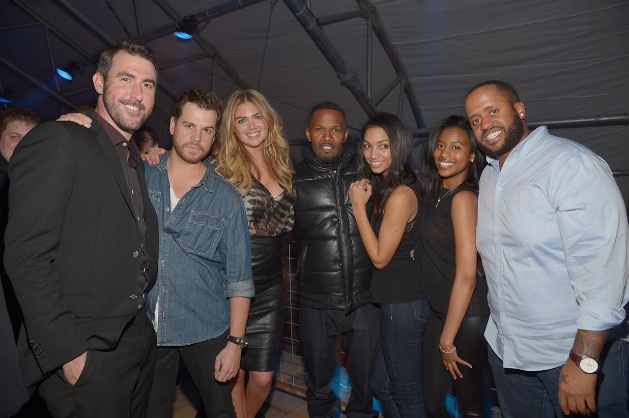 NEW YORK, NY - FEBRUARY 01: (L-R) Justin Verlander, Stephen Rannazzisi, Kate Upton, Jamie Foxx, Corinne Bishop and guests attend the DirecTV Super Saturday Night at Pier 40 on February 1, 2014 in New York City. (Photo by Mike Coppola/Getty Images for DirecTV)
