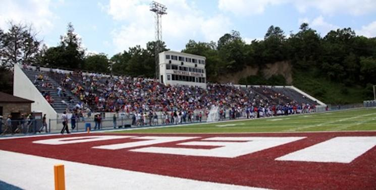 Mitchell Stadium straddles the Virginia and West Virginia line — Bluefield.edu