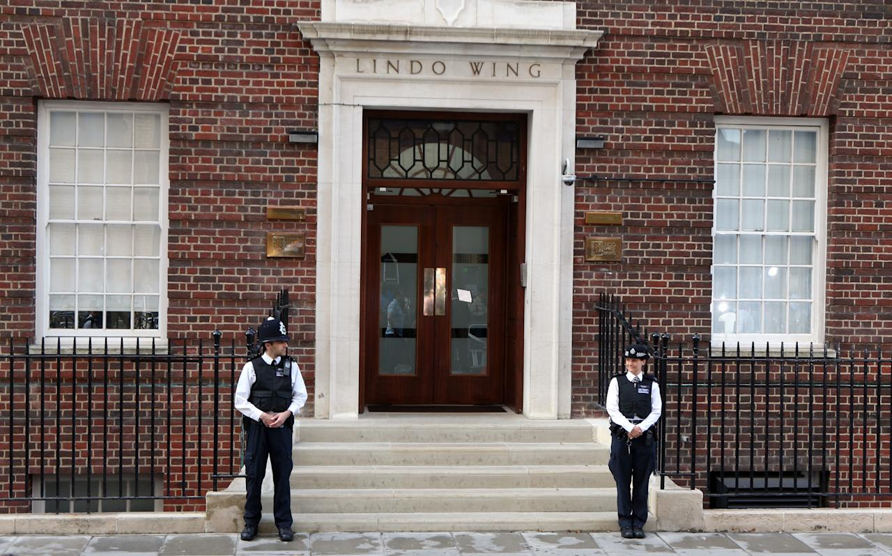 Police outside the Lindo Wing of St Mary's Hospital in London as the Duchess of Cambridge has been admitted to the hospital in the early stages of labour, Kensington Palace said today.