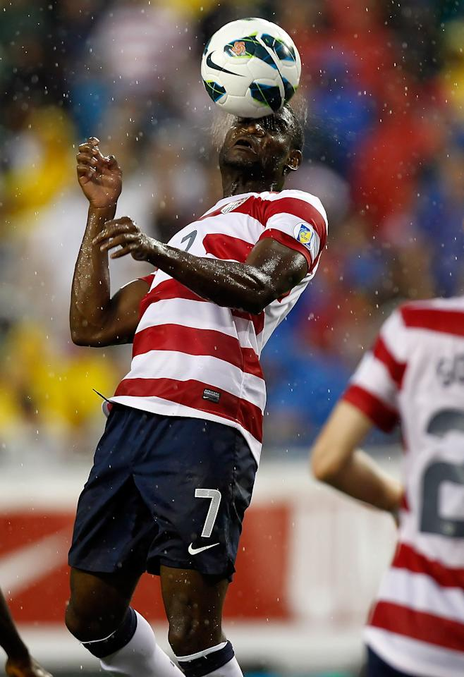 TAMPA, FL - JUNE 08:  Midfielder Maurice Edu #7 of Team USA heads the ball against Team Antigua and Barbuda during the FIFA World Cup Qualifier Match at Raymond James Stadium on June 8, 2012 in Tampa, Florida.  (Photo by J. Meric/Getty Images)