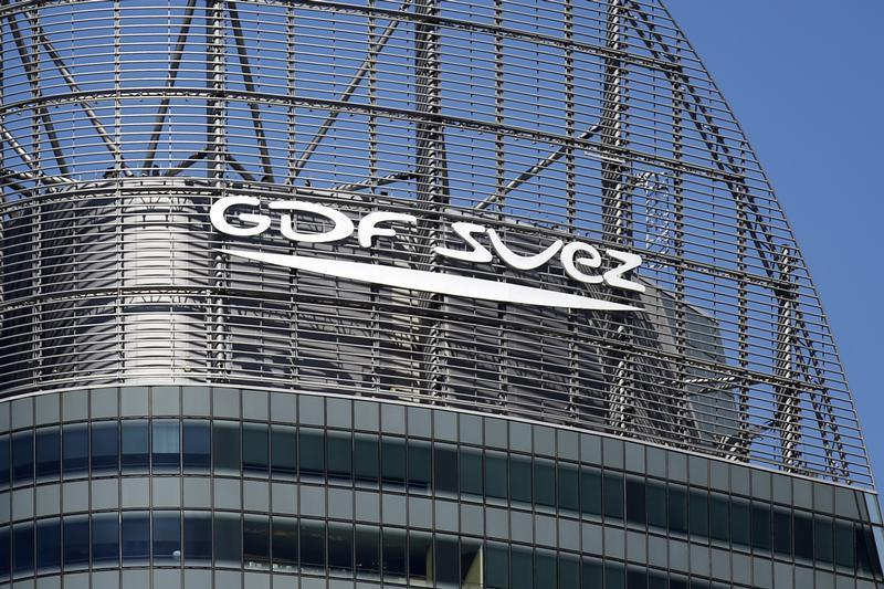 The logo of French group GDF Suez is seen on a building in the financial district of La Defense