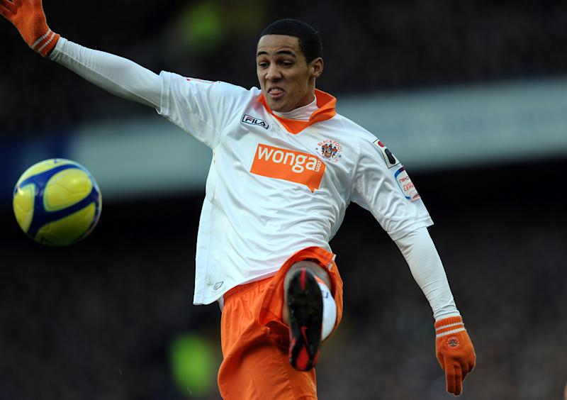 Blackpool's English midfielder Thomas Ince controls the ball during the English FA Cup 5th Round football match between Everton and Blackpool at Goodison Park in Liverpool, north-west England on February 18, 2012