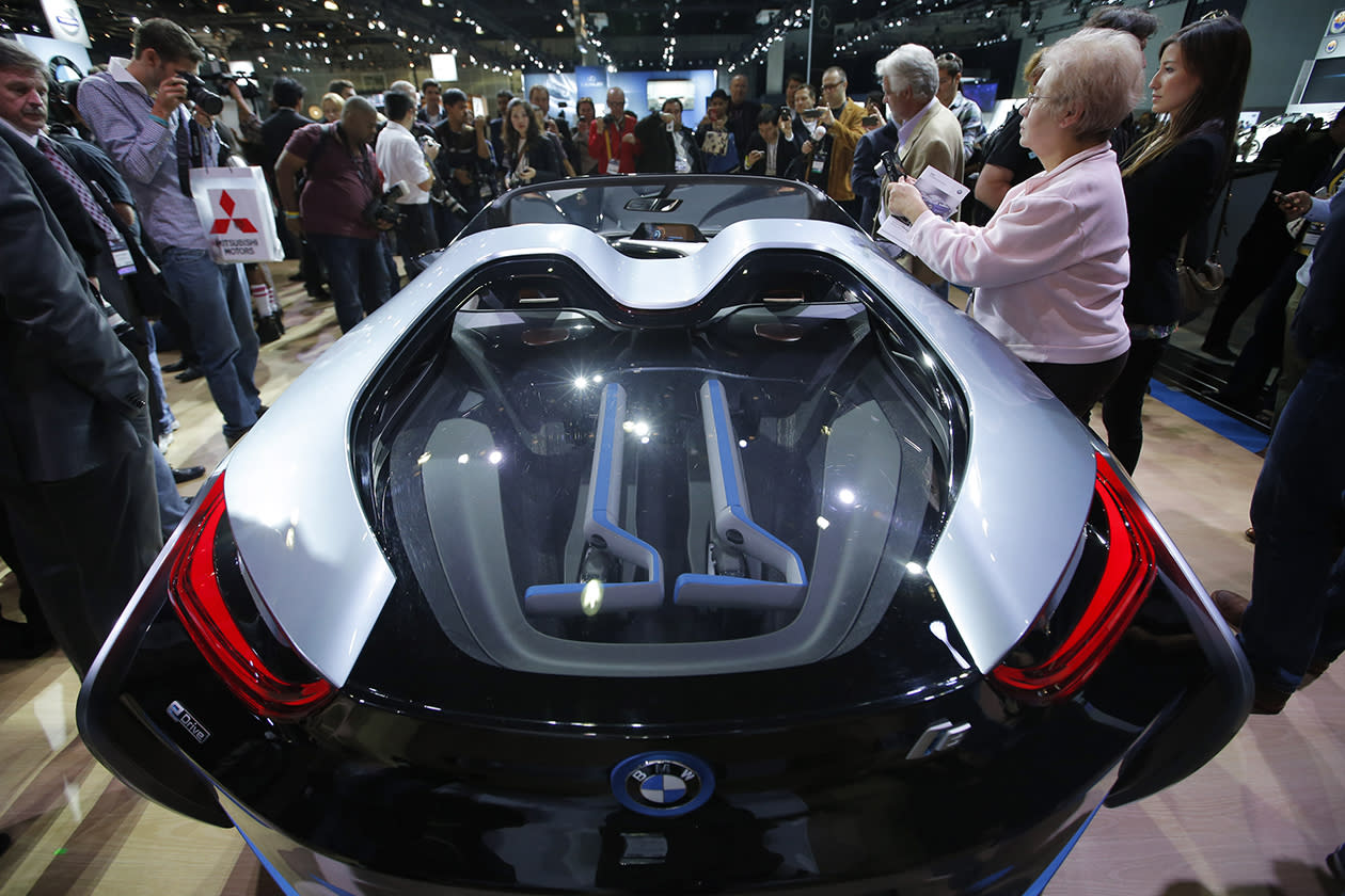 <b>BMW i8 Concept</b><br><br>The BMW i8 Concept is shown at the LA Auto Show.