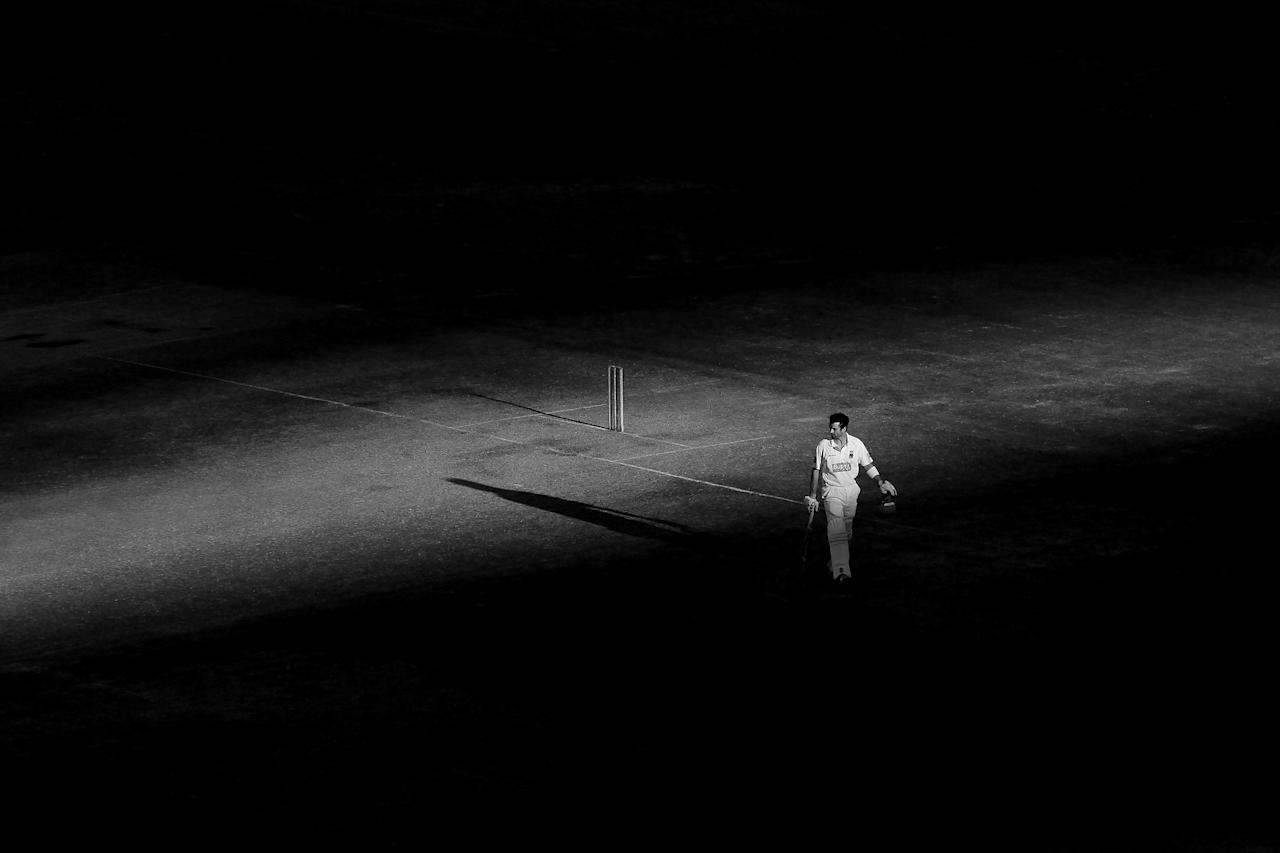 ADELAIDE, AUSTRALIA - OCTOBER 25: (EDITORS NOTE: This image has been converted to black and white.) Callum Ferguson of the Redbacks waits at the crease during day three of the Sheffield Shield match between the South Australian Redbacks and the Queensland Bulls at Adelaide Oval on October 25, 2012 in Adelaide, Australia.  (Photo by Morne de Klerk/Getty Images)