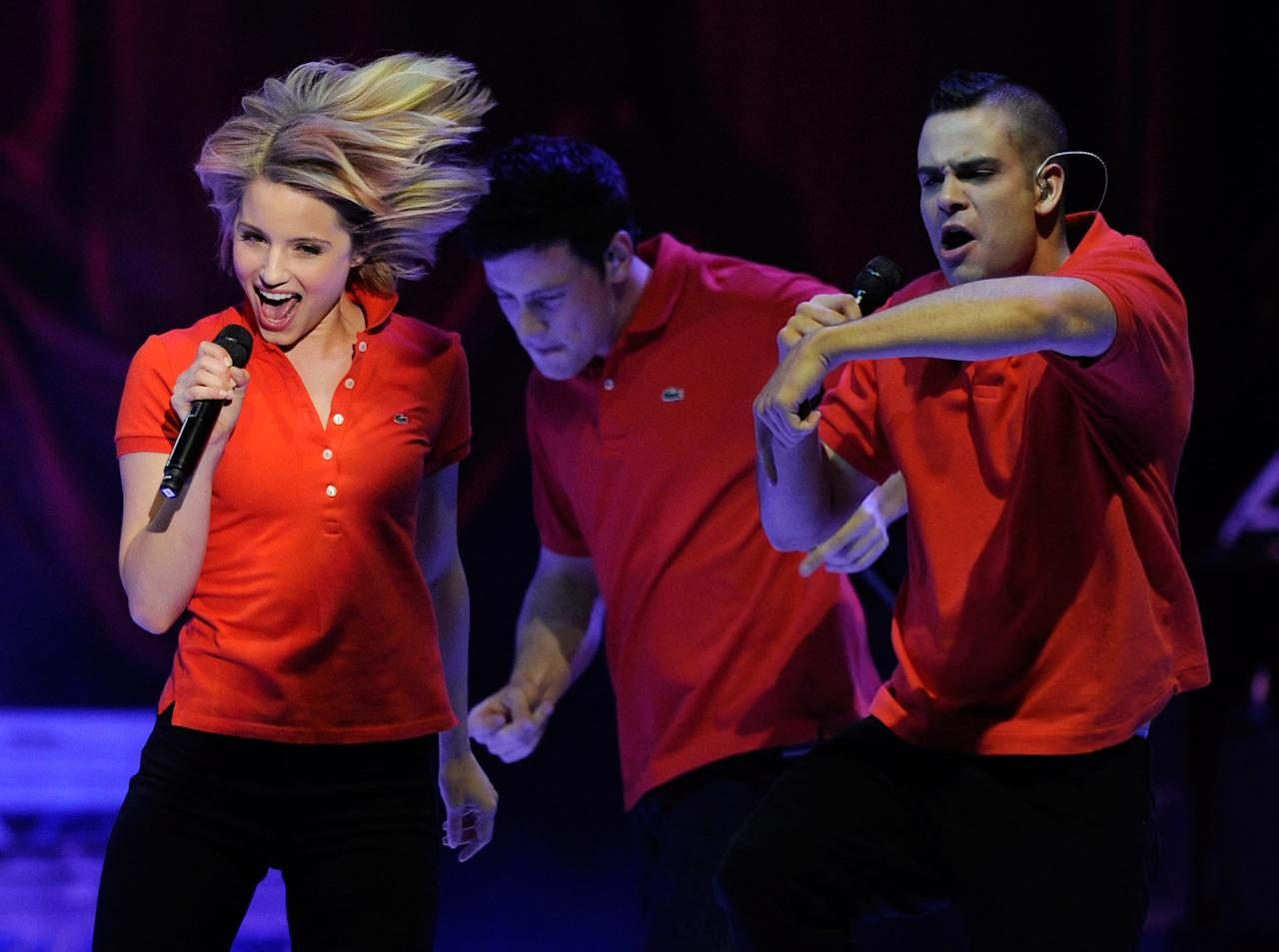 LAS VEGAS, NV - MAY 21:  (L-R) Actress Dianna Agron and actors Cory Monteith and Mark Salling perform during the kickoff of the Glee Live! In Concert! tour at the Mandalay Bay Events Center May 21, 2011 in Las Vegas, Nevada.  (Photo by Ethan Miller/Getty Images)