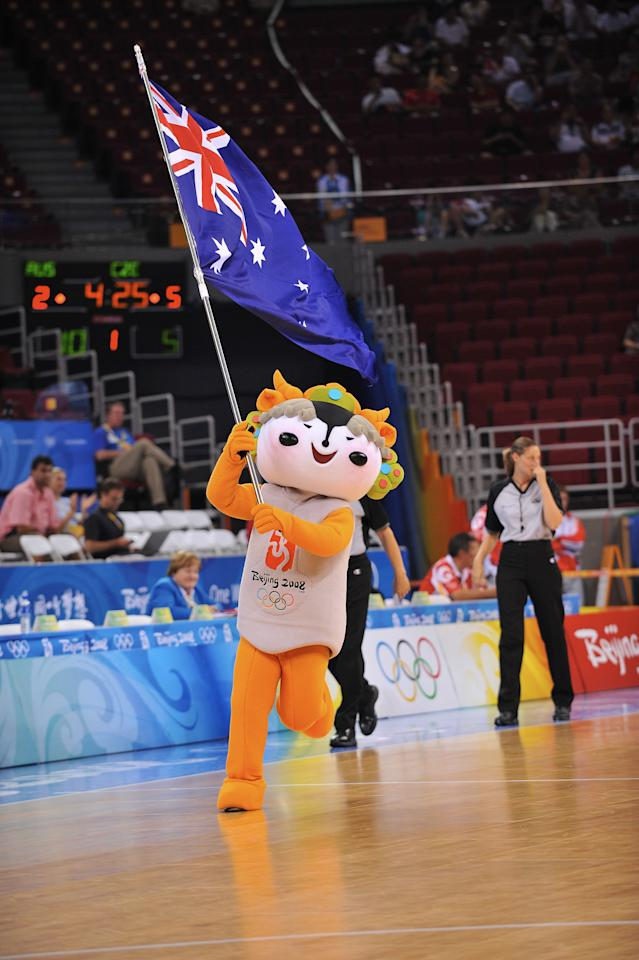 BEIJING - AUGUST 19: An Olympic Fuwa mascot during the game of Australia against the Czech Republic during day 1 of the women's quater-finals basketball game at the 2008 Beijing Olympic Games at the Beijing Olympic Basketball gymnasium on August 19, 2008 in Beijing, China. Australia won 79-46. NOTE TO USER: User expressly acknowledges and agrees that, by downloading and/or using this Photograph, user is consenting to the terms and conditions of the Getty Images License Agreement. Mandatory Copyright Notice: Copyright 2008 NBAE (Photo by Garrett Ellwood/NBAE via Getty Images)