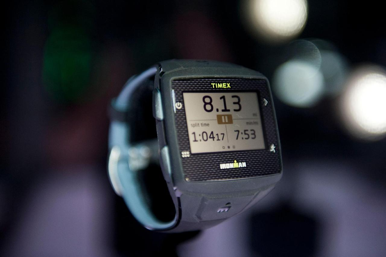 IMAGE DISTIBUTED FOR TIMEX - The new TIMEX IRONMAN ONE GPS+ is displayed at the Timex launch reception at The Depot on Wednesday, Aug. 6, 2014 in Salt Lake City. (Photo by Grant Hindsley/Invision for Timex/AP Images)