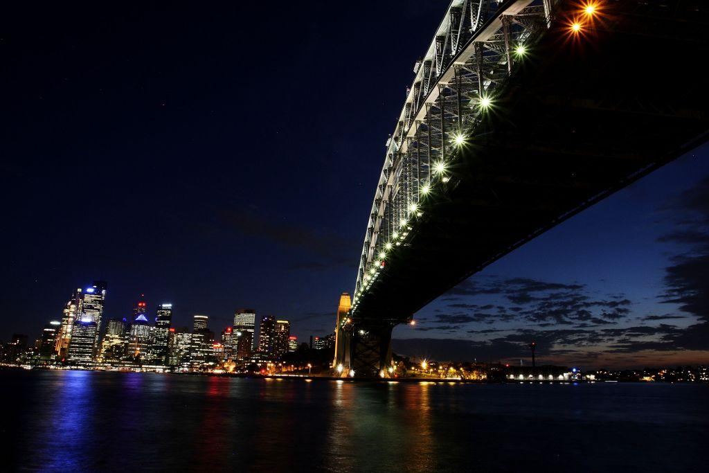 Sydney Harbour Bridge, Australia:  The Sydney Harbour Bridge is seen before the lights are switched off for Earth Hour in Sydney, Australia.