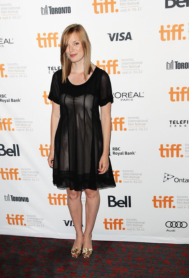 """BEST: Sarah Polley opted for a more simple, slightly sheer black dress for the premiere of her documentary, """"Stories We Tell."""" It totally works for her -- though we would have gone with diferent shoes."""