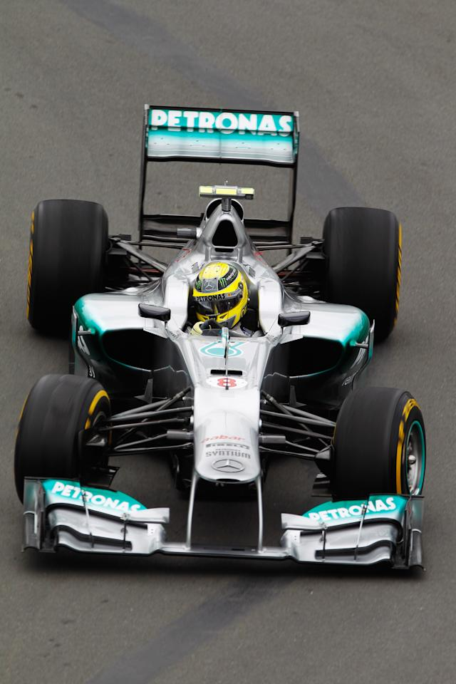 MONTREAL, CANADA - JUNE 08:  Nico Rosberg of Germany and Mercedes GP drives during practice for the Canadian Formula One Grand Prix at the Circuit Gilles Villeneuve on June 8, 2012 in Montreal, Canada.  (Photo by Paul Gilham/Getty Images)